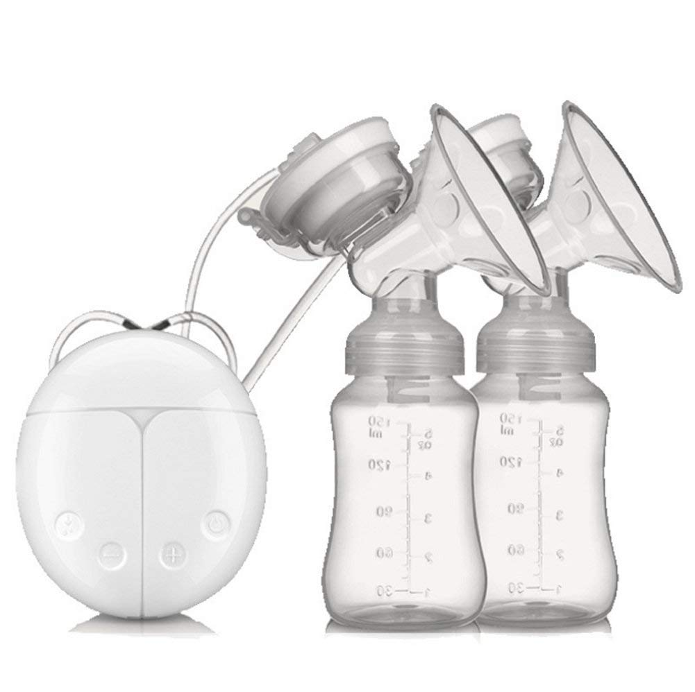 Double Breast Pump Electric Portable Recharge Breast Milk Pump White