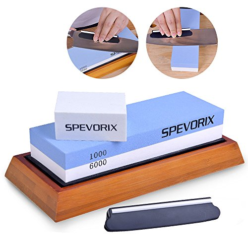SPEVORIX Sharpening Stone Dual Grit Whetstone 1000/6000 Set With Flattening Stone Non-slip Bamboo Base and Angle Guide for Kitchen Outdoor Knives