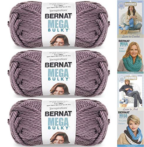 Bernat Mega Bulky, 7.0 Ounce, 3 Pack Bundle, Jumbo #7 Acrylic (Purple) ()