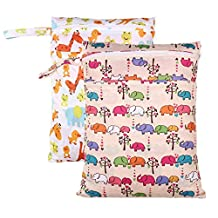 "October Elf 2 pcs Baby Wet and Dry Cloth Diaper Bags with 12""*16"" (A3)"