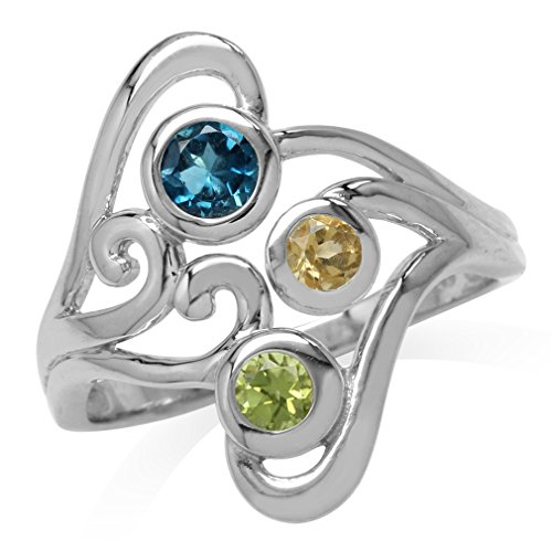 - London Blue Topaz, Citrine & Peridot White Gold Plated 925 Sterling Silver Swirl & Spiral Ring Size 8