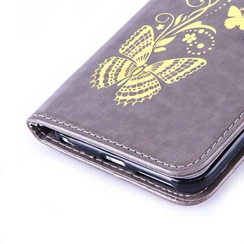 Sunroyal® Premium Flip Cuero Case Wallet - para iPhone 6 Plus / iPhone 6S Plus 5.5 Funda Caso Carcasa Ultra Slim Delgada Cover de PU Piel Silicona Estilo del Libro Cubierta en Carpeta Diseño Caja del  Gris01