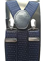 Mens Braces with White DOT 35mm - Elasticated, Adjustable Clip on Heavy Duty Suspenders by Trimming Shop