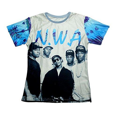Witte T-shirt (Shirt Men Women N.w.a Niggaz Wit Attitudes Print 3d T Shirt Hip Hop)