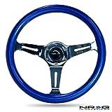 NRG Innovations ST-015CH-BL Classic Wood Grain Wheel (350mm 3 chrome spokes, blue pearl/flake paint)