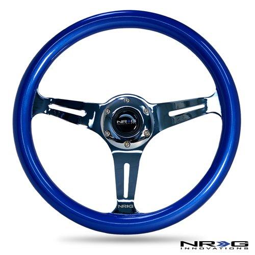 nrg-innovations-st-015ch-bl-classic-wood-grain-wheel-350mm-3-chrome-spokes-blue-pearl-flake-paint