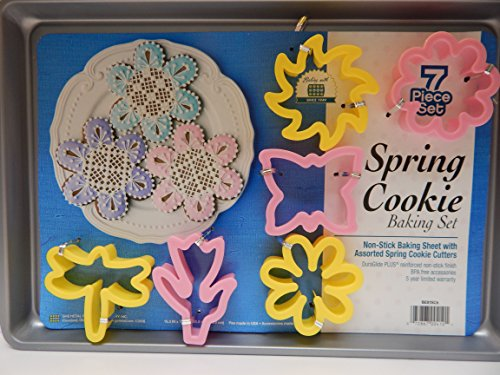 Baking sheet 7 Pc. Set Spring Cookie Sheet with Assorted Spring Flowers Cookie Cutters Butterfly Tulip Daisy Zinnia Pinwheel Dragonfly Easter Flowers Bakeware by American Quality Bakeware