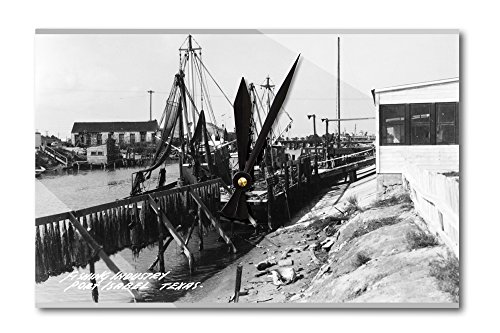Port Isabel, Texas - Fishing Boats Photograph (Acrylic Wall Clock)
