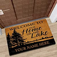 Tdou Personalized [Your Name] Welcome to The Lake House Doormat Custom Lake  House Doormat Funny Entrance Floor Mat Funny Door Mat Decorative Indoor