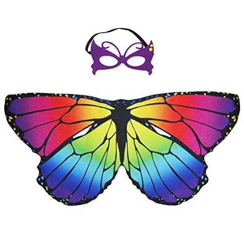 Kids Fairy Butterfly Wings Costume and Mask for Girls Dress Up Princess Pretend Play Party Favors (Rainbow -