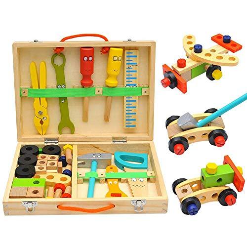 Caja De Herramientas para Niños De Madera De 2 Años 3 Años 6 Años 5 Años 8 Años Caja De Herramientas De Bricolaje…