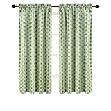 Deconovo Blackout Curtains Pattern Rod Pocket Blackout Curtains Window Treatment Panels for Boys Room 52X84 Inch Green 2 Panels