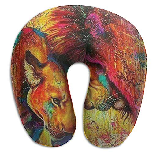 SARA NELL Memory Foam Neck Pillow Lion Couple King Animal Graffiti Art U-Shape Travel Pillow Ergonomic Contoured Design Washable Cover for Airplane Train Car Bus Office (Lion Neck Pillow)
