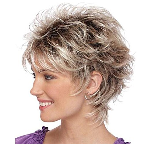 QianBaiHui Short Wavy Wigs for White Women - Blonde Mixed Brown Bob Wigs Heat Resistant Synthetic Hair Wigs with Wig Cap LDS016 ()