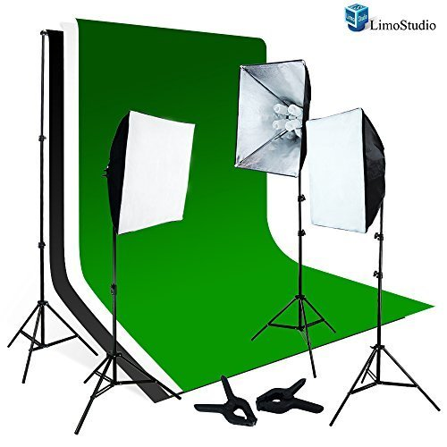 LimoStudio 2400W Photo Soft box Light Lighting Kit with 6'x9' Backdrops Backgrounds Support Kit by LimoStudio