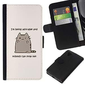 KingStore / Leather Etui en cuir / LG Nexus 5 D820 D821 / Citer dessin drôle Kitten