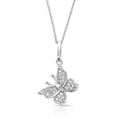 737d78c9872630 Amazon.com: Tiny Simple Butterfly Pendant Necklace For Teen For Women Dangle  Charm Micropave 925 Sterling Silver With Chain: Womens Necklaces: Jewelry