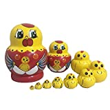 Lakerom 10 pieces Mini Animal Nesting Dolls Matryoshka Doll Russian Doll LRKDTW1003-Duck