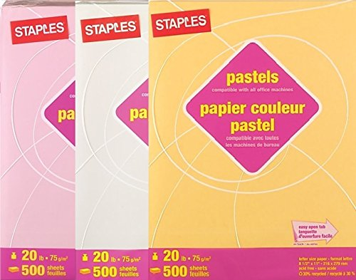 Staples Colored Paper - Staples Pastels Assorted Colored Paper, Colors: Pink - Cream - Goldenrod, 30% Recycled, 8 1/2 x 11 inches Letter Size, Large 1500 Sheet Multi-Pack Set (500 Sheets of each color)