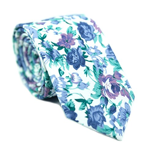 Morning Mist (DAZI Men's Skinny Tie Floral Print Cotton Necktie, Great for Weddings, Groom, Groomsmen, Missions, Dances, Gifts. (Morning Mist))