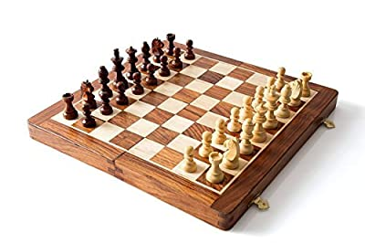"Wooden Magnetic Travel Chess Set with Staunton Pieces and Folding Game Board 10"" Inch - Handmade By Artisans in India"