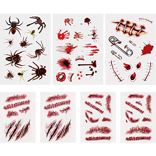 Tatuo 7 Sheets Halloween Bleeding Wound Scar Blood Temporary Tattoos Fake Bloody Stickers for Party Cosplay Costume