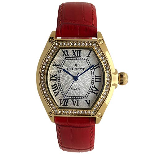 - Peugeot Women's Watch 14K Gold Plated with Crystal Bezel and Leather Wrist Strap