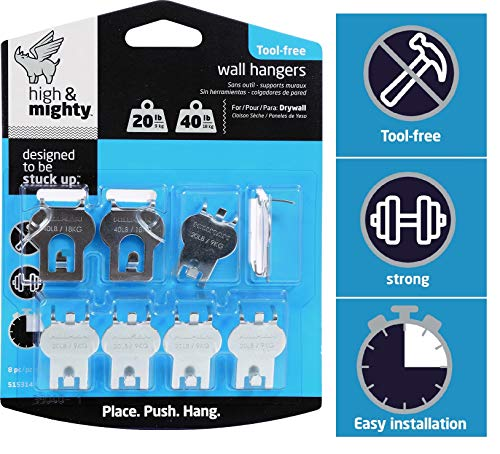 HIGH & MIGHTY 515314 Tool Free Picture Hanging Kit, 8 Pieces, 20-40LB Limit, Silver from HIGH & MIGHTY