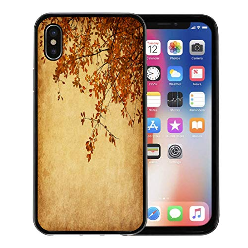 (Emvency Phone Case for Apple iPhone Xs case,Brown Distressed Old Branch of Autumn Leaves Cherry Plum Orange Bad Blank for iPhone X Case,Rubber Border Protective Case,Black)