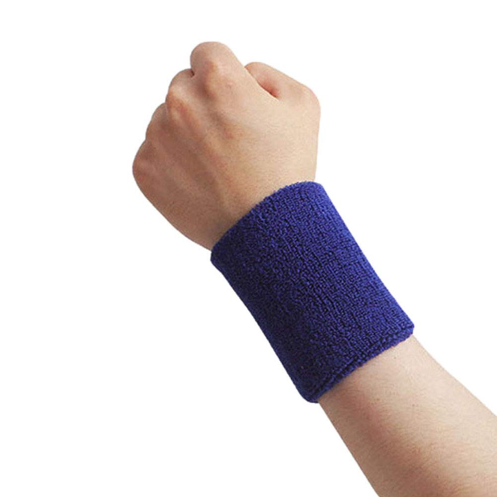 Shineweb Tennis/Basketball/Badminton Sports Wristband Wrist Support Protector Sweatband Blue L