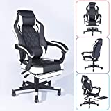 Homy Casa Managerial Executive Racing Ergonomic Backrest and Seat Height Adjustment Computer Chair with Pillows Swivel Chairs (White-Black-footrest)