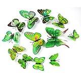 Gotd 12PCs 3D DIY Wall Sticker Butterfly Fridge Magnet Home Decor Room ...