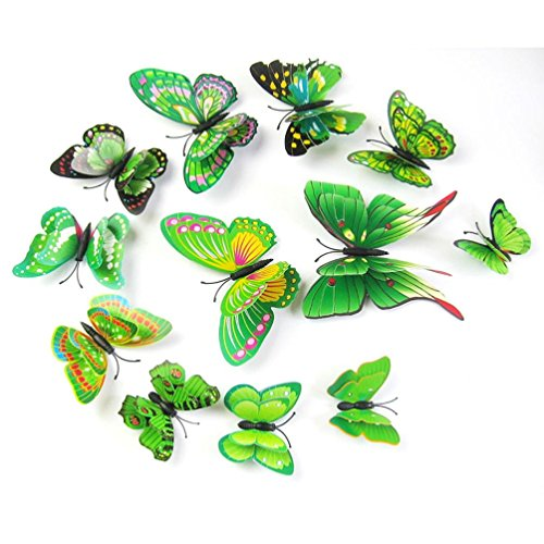 Gotd 12PCs 3D DIY Wall Sticker Butterfly Fridge Magnet Home Decor Room Decorations, Green