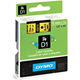 DYMO Standard D1 Self-Adhesive Polyester Tape for Label Makers, 1/2-inch, Black print on Yellow, 23-foot Cartridge (45018)