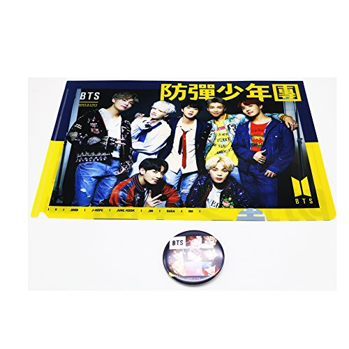 - BTS Bangtan Boys Photos School Folder Sheet Protectors Holder Color Clear File with Pin Button Badge