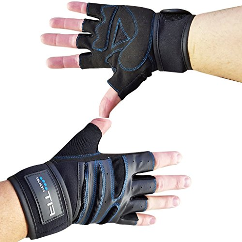Fit Four F4W Weightlifting Glove with Wrist Support - Gloves For Workout, Weight Lifting Cross Training and Crossfit - Men and Women - Medium (M)