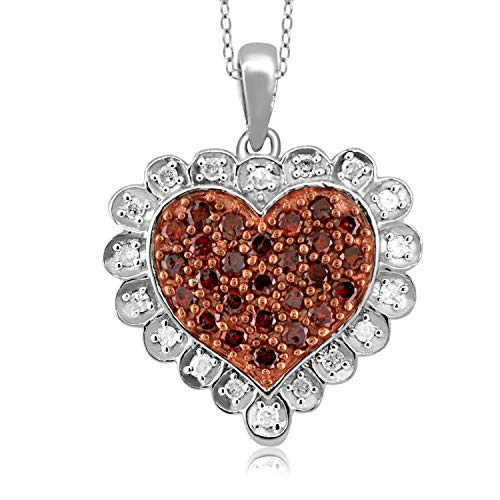 JewelExcess 1/2 Carat T.W. Red and White Diamond Sterling Silver Heart Pendant ()