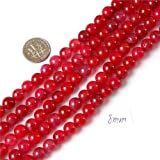 8mm Round Gemstone Red Crackle Agate Beads Strands 15 Inch Jewelry Making Beads