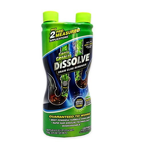 Price comparison product image Green Gobbler DISSOLVE Liquid Hair & Grease Clog Remover / Drain Opener /Drain cleaner/ Toilet Clog Remover (32 OZ.)