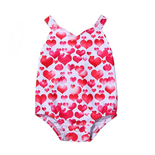 Price comparison product image Penpell Newborn Baby Boys Girls Summer Harness Red Heart Print Romper Jumpsuit Bodysuit Playsuit (80)