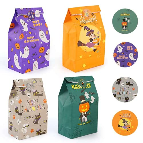 Starrky Halloween Paper Candy Bags, 24PCS Halloween Goodie Bags Bulk Paper Gift Bags Halloween Treat Bags with Stickers for Kids Party Favor