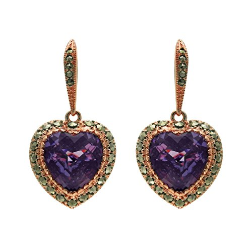 - Aura 925 Sterling Silver Earring Amethyst Cz, Marcasite With Rose Gold Plated