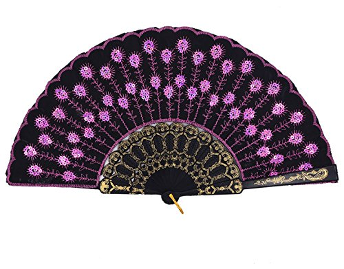 [Amajiji Folding Fans for Women,Handmade Elegant Colorful Embroidered Flower Peacock Pattern Sequin Fabric Folding Fans] (Mini Black And White Spanish Hat)