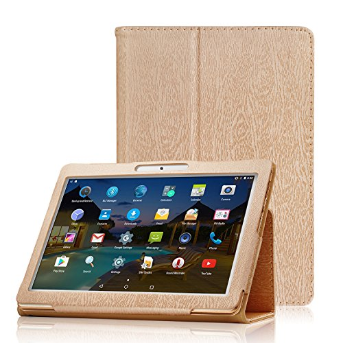 AKNICI Premium Leather Folio Case Cover, Compatible with Yuntab (K107/K17) 10.1, YELLYOUTH 10, Wecool 10.1, Tagital 10.1, Plum Optimax 10, Batai 10, GIMTVTION PT107, LLLtrade 10.1, BENEVE 10.1 - Gold