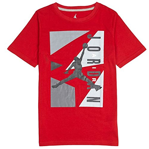 Jordan Boys Youth AJ Block Shirt Red Large