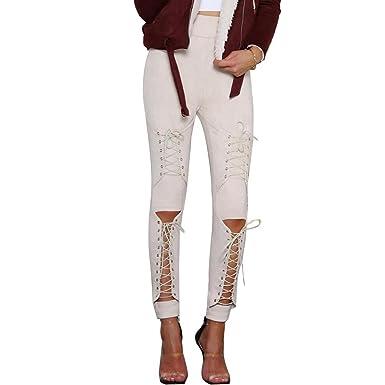 493afa01beee NJunicorn Uncle Women's Spring Faux Suede Leggings High Waist Elastic  Stretchy Slim Pencil Pants Bandage Plus