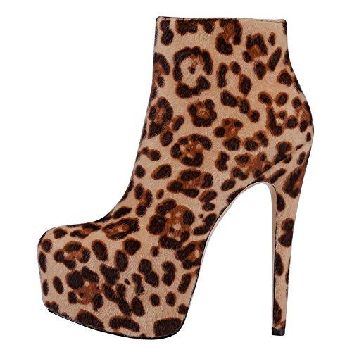 Platform Zipper Booties Heels High VOCOSI Suede faux Shoes Boots CB Toe 002 Round Ankle Leopard Women's Ankle wAvSpq0