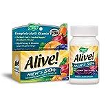 Nature's Way Alive! Men's 50+ Energy Multivitamin Tablets, Fruit and Veggie Blend (100mg per serving), 50 Tablets