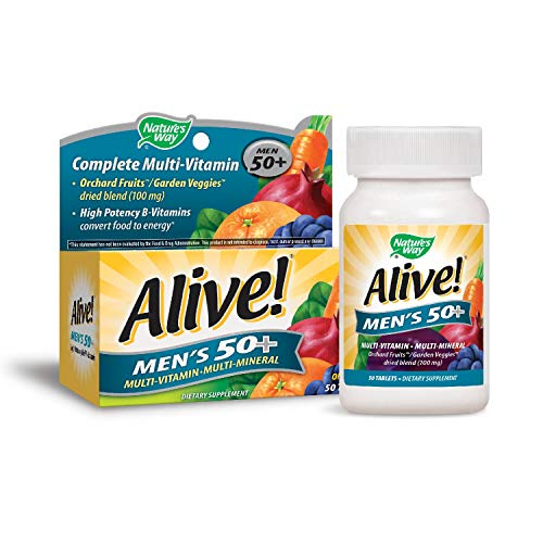 Natures Way Alive!® Mens 50+ Energy Multivitamin Tablets, Fruit and Veggie Blend (100mg per serving), 50 Tablets