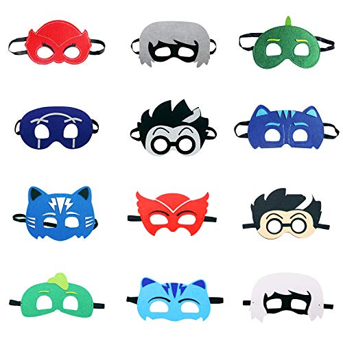 Cartoon Hero Masks Party Favors for Kid (12 Packs) with All Characters Catboy/Owlette/Gekko/Romeo/Night Ninja/Luna Girl - Birthday Party Masks for Children Aged 3+